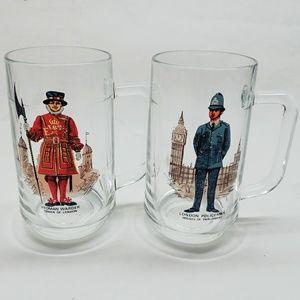 Vintage! Two LONDON Yeoman Warder & Policeman Mugs